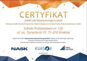 Certyfikat Nowe technologie