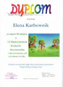 Dyplom Eleny Karbownik
