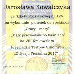 """25-05-2017 r. – II miejsce w VIII Krakowskim Przeglądzie Teatrów Szkolnych """"Odyseja Teatralna 2017"""""""